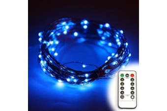 (10m(with remote), Blue) - ER CHEN(TM)8 Lighting Model Indoor and Outdoor Waterproof Battery Operated 100 LED String Lights on 10m Long Ultra Thin Copper String Wire with 13 Key Remote Control(Blue)