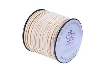 (Ivory) - BRCbeads Micro-Fibre Flat Leather Lace Beading Thread Faux Suede Cord String Velet 100 Yard Roll Spool 3mm Ivory Colour with Acrylic Jar