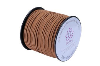 (Middle Brown) - BRCbeads Micro-Fibre Flat Leather Lace Beading Thread Faux Suede Cord String Velet 100 Yard Roll Spool 3mm Middle Brown Colour with Acrylic JAr