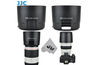 JW LH-83D BLACK Reversible Lens Hood For CANON EF 100-400mm f/4.5-5.6L IS II USM Lens w/ CPL ND Filter Adjustment Window replaces Canon ET-83D + JW emall Micro Fibre Cleaning Cloth