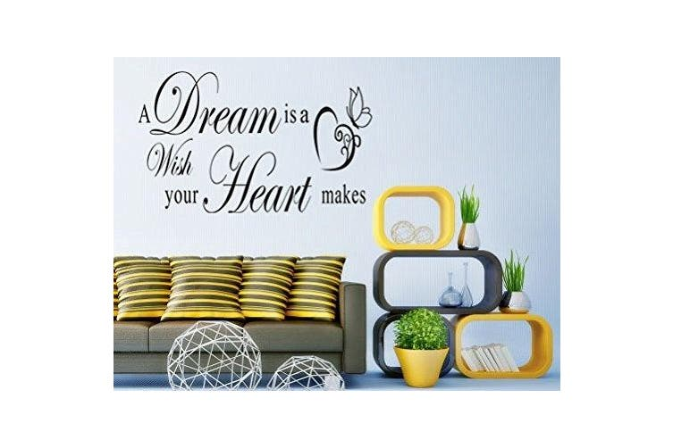 Dnven (100cm w X 36cm h) a Dream Is a Wish Your Heart Makes Home Vinyl Wall Decals Quotes Sayings Words Arts Decors Lettering Vinyl Wall Stickers