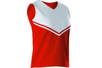 (Large, Red/White) - Alleson Girls Cheerleading V Shell Top with Braid