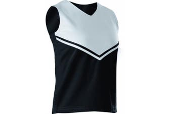 (X-Small, Black/White) - Alleson Girls Cheerleading V Shell Top with Braid
