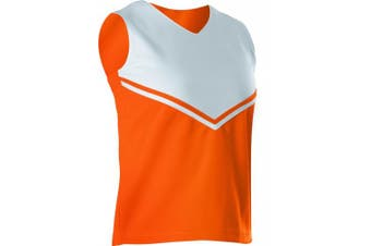 (Large, Orange/White) - Alleson Women's Cheerleading V Shell Top with Braid
