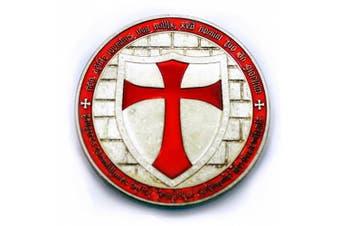 Commemorative Knights Templar Cross Masonic Mason Silver Coin Red Enamel With Case