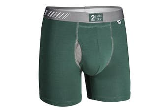 (Large, Dark Green/Gray) - 2undr Men's Swingshift Boxers
