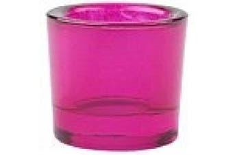 (1, Fuchsia) - Bluecorn Beeswax Heavy Glass Votive and Tea Light Candle Holders (1, Fuchsia)
