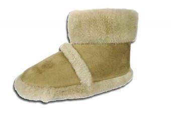 (11 UK Child / 10 UK, Beige) - Girls Boys Kids COOLERS Brand Microsuede Fluffy Slipper Boot K200
