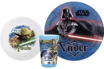 (3 Piece Set, Classic Star Wars) - Zak! Designs Mealtime Set with Plate, Bowl and Tumbler featuring Classic Star Wars Graphics, Break-resistant and BPA-free plastic, 3 Piece Set