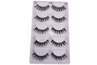 (style-1) - 5 Pairs Natural Look Fake Eye Lash False Eyelashes Extension Makeup