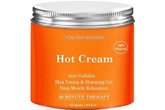 Anti Cellulite Cream & Muscle Relaxation Cream HUGE 260ml, 100% Natural 87% Organic - Cellulite Treatment Hot Gel Cream, Firms Skin, Slims & Reduces Fat Appearance - Muscle Rub Cream, Muscle Massager