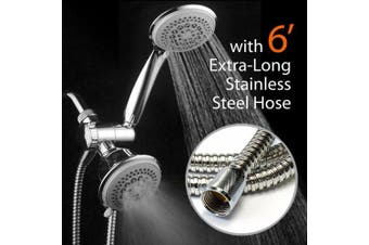 (with Extra-Long 6 Foot Hose) - DreamSpa® Luxury 36 Setting Large Showerhead and Hand-Shower Dual 3-Way-Combo by Top Brand Manufacturer (Fixed and Handheld Shower-Heads, Water-Diverter, Extra Long 1.8m Stainless Steel Shower-Hose)