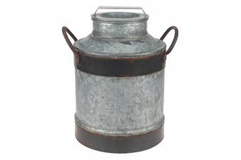 Stonebriar Large Aged Galvanised Milk Can with Rust Trim and Handles