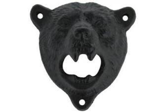 (Black Bear) - Sea Star ® Cast Iron Wall Mount Grizzly Bear Teeth Bite Bottle Opener (Black Bear)