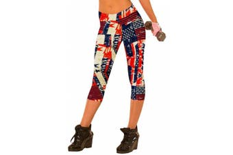 (Medium, USA Flag) - Ancia Womens Tartan Active Workout Capri Leggings Fitted Stretch Tights
