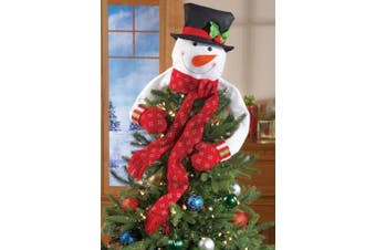 Collections Etc Christmas Hugging Snowman Tree Topper with Red Mittens and Draping Red Scarf - Festive Christmas Tree Decoration