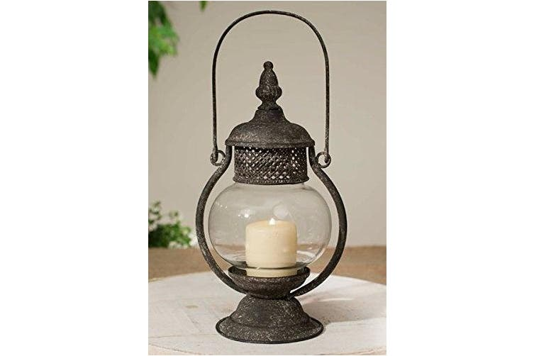 Primitive Candle Lantern with Glass Mantle in Sepia Brown Rustic Finish, 28cm Tall