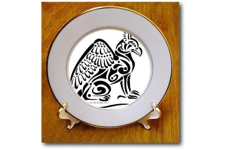 (20cm  Porcelain Plate) - 3dRose cp_23164_1 Black Gryphon Fantasy Celtic Tribal Porcelain Plate, 20cm