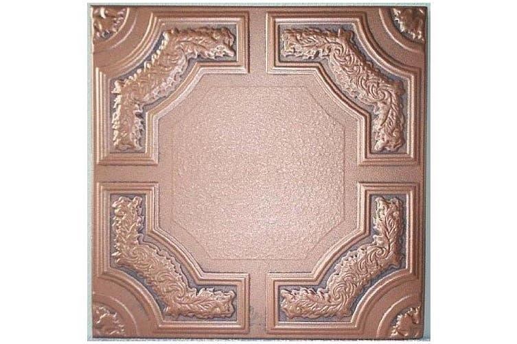 Faux Ceiling Tile - 50cm x 50cm Caracas Antique Copper Graphite Foam
