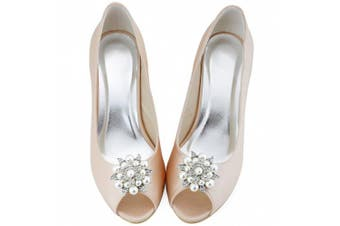 (Silver) - ElegantPark Fashion Pearls Rhinestones Flowers Crystals Wedding Party Shoe Clips