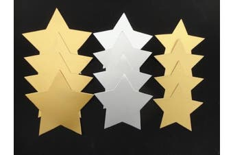 50 x Large Gold & Silver Card Stars - 3 Sizes - Gift Tags Badges Xmas Mobiles