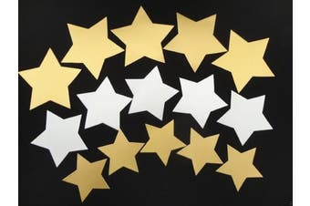 100 x Large Gold & Silver Card Stars - 3 Sizes - Gift Tags Badges Decorations