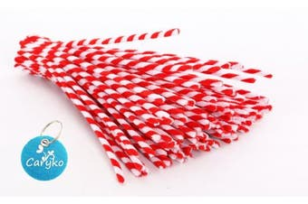 (Red) - Caryko Striped Chenille Stems Pipe Cleaners, Pack of 100 (Red)