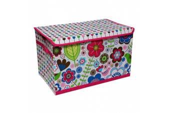 (Botanical Pink) - Bacati - Storage Tote (Toy Chest 37cm L x 60cm W x 38cm H., Botanical Pink)