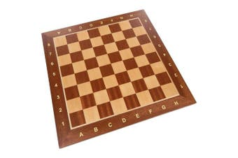Requa Chess Board with Inlaid Wood and Ranks and Files (Numbers and Letters on Side) - Board Only - 38cm