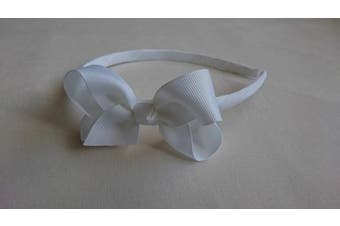 (White) - Alice Band With Bow Girls Ribbon Hair Band Headband (White)