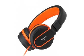 (Black/Orange) - Headphones, Ailihen I35 Headphones with Microphone Lightweight Noise Isolating Folding Headset for iPhone iPod iPad Android Smartphones Cellphones Tablets Laptop Mp3/4