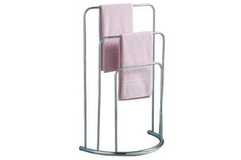 (Modern) - Home Discount® Towel Stand 3 tier Bathroom Rack Free Floor Standing Towel Holder Curved, In Chrome