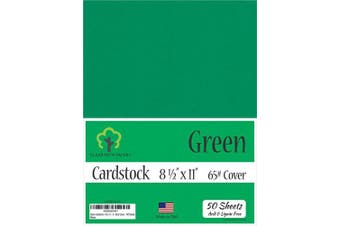 (22cm  x 28cm  - 50 Sheets) - Green Cardstock - 22cm x 28cm - 29kg Cover - 50 Sheets