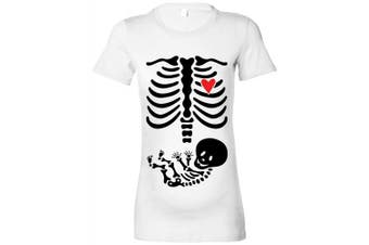 (S-8, White - Black and Red Print) - Women's Maternity 'Skeleton Baby' T-Shirt - Various Colours Available