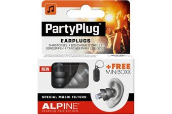(Black, Party) - Alpine PartyPlug Ear Plugs for Loud Music Environments, Black