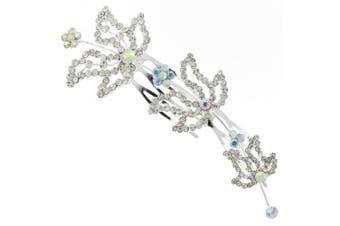 Triple Leaf Floral Austrian Crystal Bridal Hair Comb Clip