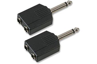 "6.35mm 1/4"" Mono Jack Guitar Plug to 2 x Sockets Splitter Combiner Adaptor x 2"