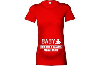 (L - 14, Red - White Print) - Beyondsome Women's Maternity 'Baby Loading.Please Wait' T-Shirt