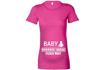 (XL - 16, Fuchsia - White Print) - beyondsome Women's Maternity 'Baby Loading.Please Wait' T-Shirt (XL - 16, Fuchsia - White Print)