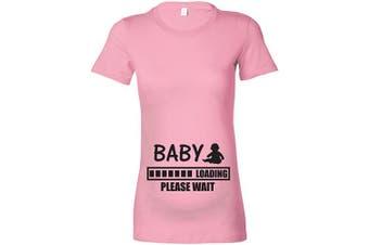 (L - 14, Baby Pink - Black Print) - Beyondsome Women's Maternity 'Baby Loading.Please Wait' T-Shirt