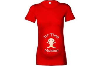 (XL - 16, Red - White Print) - Beyondsome Women's Maternity '1st Time Mummy!' T-Shirt