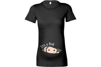 (M - 10/12, Black - White Print) - Beyondsome Women's Maternity '1st Time Mummy!' T-Shirt
