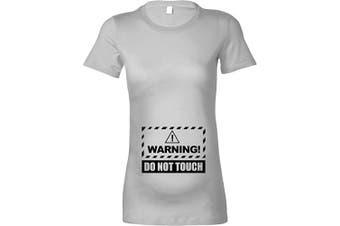 (XL - 16, Heather Grey - Black Print) - Beyondsome Women's Maternity 'Warning! Do not Touch' T-Shirt