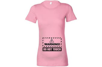 (XL - 16, Baby Pink - Black Print) - Beyondsome Women's Maternity 'Warning! Do not Touch' T-Shirt