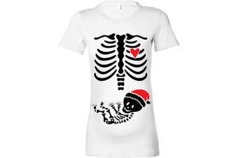 (S - 8, White - Black & Red Print) - Beyondsome Women's Maternity 'Christmas Skeleton Baby' T-Shirt