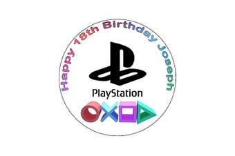 7.5 Playstation Game Console Logo Edible Icing Birthday Cake Topper