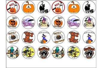 24 Halloween Edible Wafer Paper Cup Cake Toppers