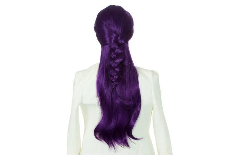 (purple) - DAOTS 70cm Wig Long Heat Resistant Big Wavy Hair Women Cosplay Wig