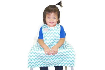 (Teal Chevron) - BIB-ON, A New, Full-Coverage Bib and Apron Combination for Infant, Baby, Toddler Ages 0-4+. One Size Fits All! (Teal Chevron)