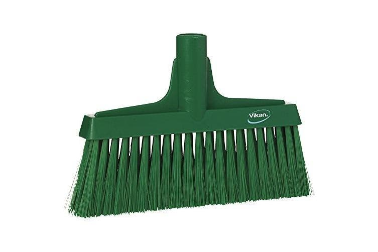 Vikan 31042 25cm - 0.6cm Polyester Bristle Polypropylene Block Fine Sweep Floor Broom Head, Green